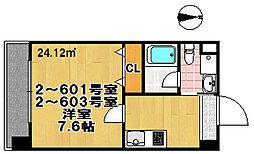FDS amore 2階ワンルームの間取り