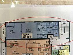番町ビルディング1 2階1LDKの間取り