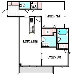 京阪本線 土居駅 徒歩2分の賃貸マンション 3階2LDKの間取り