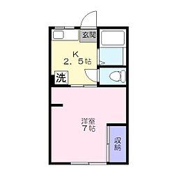 神奈川県横浜市神奈川区羽沢南2の賃貸アパートの間取り