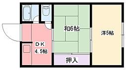 マンション武庫川[2階]の間取り