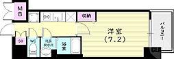 プレサンス兵庫ヴィアーレ 6階1Kの間取り