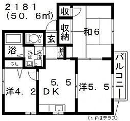 フラッツ誉田II[202号室号室]の間取り