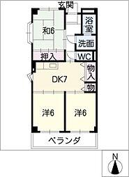 グリンデル6[4階]の間取り