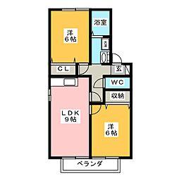 愛知県岡崎市欠町字東通の賃貸アパートの間取り