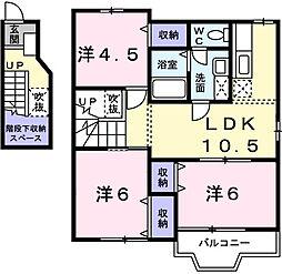 兵庫県姫路市広畑区早瀬町3丁目の賃貸アパートの間取り