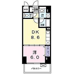 小田急江ノ島線 湘南台駅 徒歩7分の賃貸マンション 5階1DKの間取り