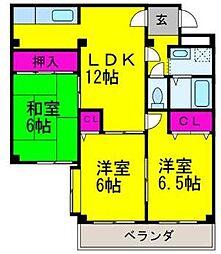 大阪府高石市羽衣5丁目の賃貸マンションの間取り