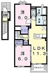 三重県多気郡明和町佐田の賃貸アパートの間取り