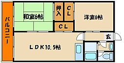 兵庫県明石市鳥羽の賃貸マンションの間取り