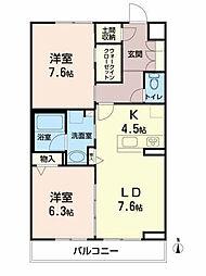 ベレオ愛子中央 3階2LDKの間取り