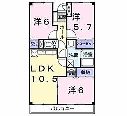 ユ−アイマンション・赤坂[202号室]の間取り