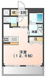 岡山電気軌道清輝橋線 清輝橋駅 徒歩4分の賃貸マンション 2階ワンルームの間取り
