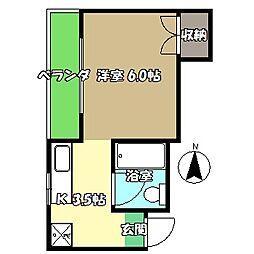 高知県高知市上町2丁目の賃貸マンションの間取り