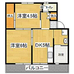 ビレッジハウス荒木 2号棟[1階]の間取り
