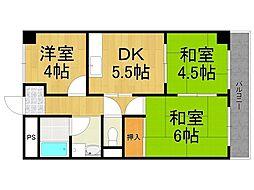 兵庫県西宮市大社町の賃貸マンションの間取り