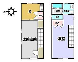 京福電気鉄道北野線 北野白梅町駅 徒歩15分 1Kの間取り