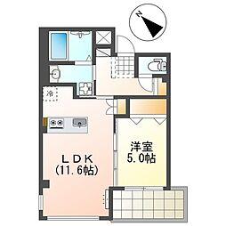 JR山陽本線 魚住駅 徒歩2分の賃貸マンション 2階1LDKの間取り