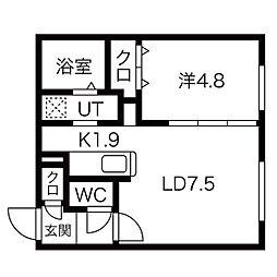 札幌市営東西線 円山公園駅 徒歩14分の賃貸マンション 4階1LDKの間取り