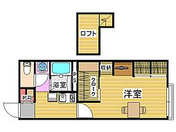 レオパレス四箇KアンドMII(ケイアンドエムツー)[1階]の間取り