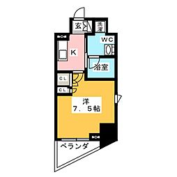 プラウドフラット浅草橋II 7階1Kの間取り