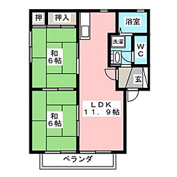ルミエール秋桜 B[1階]の間取り