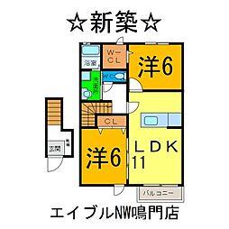 メゾン コンソラトゥールIIA 2階2LDKの間取り