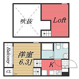 千葉県千葉市中央区今井3丁目の賃貸アパートの間取り