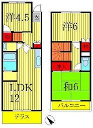 [テラスハウス] 千葉県流山市鰭ヶ崎 の賃貸【/】の間取り