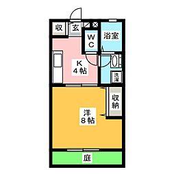 サントス青江 A棟[1階]の間取り