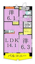 千葉県松戸市稔台1丁目の賃貸マンションの間取り