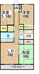 神奈川県南足柄市和田河原の賃貸マンションの間取り