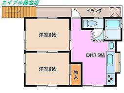 三重県桑名市野田3丁目の賃貸アパートの間取り