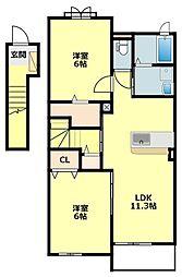 名鉄西尾線 福地駅 徒歩35分の賃貸アパート 2階2LDKの間取り