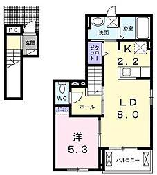 JR福塩線 備後本庄駅 徒歩26分の賃貸アパート 2階1LDKの間取り