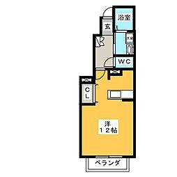 メゾンアルドーレ B棟 1階ワンルームの間取り