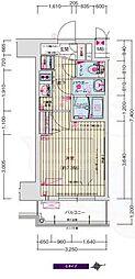 ララプレイス四天王寺前夕陽ヶ丘プルミエ 7階1Kの間取り