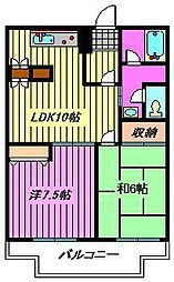 鈴谷カワベマンション[2階]の間取り