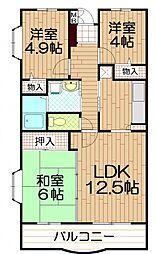 埼玉県さいたま市桜区西堀2丁目の賃貸マンションの間取り