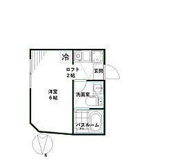 マレーア高円寺 1階ワンルームの間取り