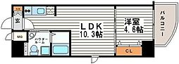 大阪府大阪市中央区高津1丁目の賃貸マンションの間取り