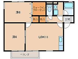 和歌山県海南市岡田の賃貸アパートの間取り