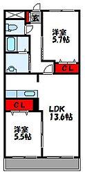 秋桜館[102号室]の間取り