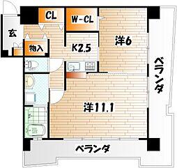 サンシャインプリンセス 北九州[9階]の間取り