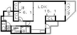 フモセ西田辺[6階]の間取り