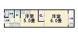 大阪府堺市西区浜寺石津町東5丁の賃貸アパートの間取り