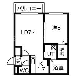 北海道札幌市西区二十四軒三条2丁目の賃貸マンションの間取り