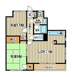 東京都府中市浅間町2丁目の賃貸マンションの間取り
