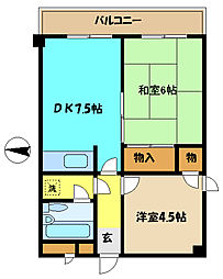 埼玉県さいたま市桜区桜田3丁目の賃貸マンションの間取り