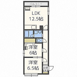 ビッグバーンズマンション北郷III D棟[1階]の間取り